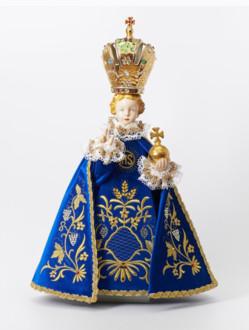 Infant Jesus of Prague Porcelain Statue 57cm/22.44in - Blue