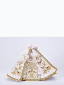 Šaty 21cm / 8.27in (na sošku Pražského Jezulátka porcelánovou 34,5cm / 13.58in a pryskyřicovou 24cm / 9.45in) - bílé - vzor IHS