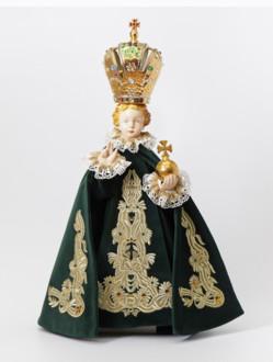 Pražské Jezulátko porcelánové 57cm / 22.44in - zelené - vzor Marie Terezie