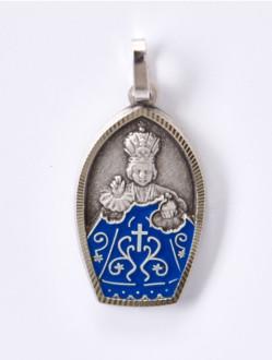 Přívěsek Kovový - Pražské Jezulátko-Reliéf - Modré