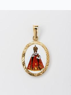 Přívěsek zlatý – Pražské Jezulátko - smalt - rytý