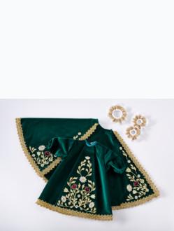 Šaty 26cm / 10.24in (na dřevěnou sošku Pražského Jezulátka 35cm / 13.78in) – zelené