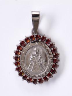 Granátový medailon Jezulátko - stříbrný ( rutheniovaný )