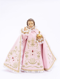 Pražské Jezulátko dřevěné oblečené 35cm/13.78in - růžové