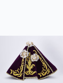 Šaty 39cm / 15.35in (na dřevěnou sošku Pražského Jezulátka 52cm / 20.47in) – fialové - vzor Klasy