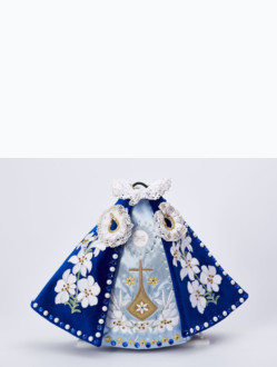 Dress 21cm / 8.27in (Designed for Infant Jesus of Prague Porcelain Statue 34,5cm / 13.58in and Resin Statue 24cm / 9.45in) - Blue - Design Carmel