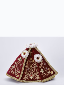 Dress 21cm / 8.27in (Designed for Infant Jesus of Prague Porcelain Statue 34,5cm / 13.58in and Resin Statue 24cm / 9.45in) - Burgundy