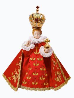 Pražské Jezulátko porcelánové oblečené 34,5cm / 13.58in - červené