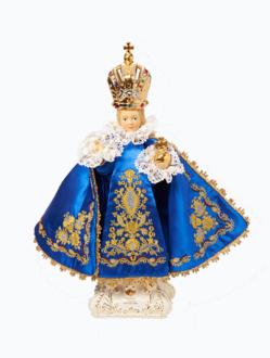 Pražské Jezulátko keramické oblečené – nové 39cm / 15.35in - modré