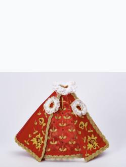 Šaty 18cm / 7.09in (na dřevěnou sošku Pražského Jezulátka 23cm / 9.06in) - červené - vzor Růže