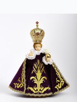 Pražské Jezulátko pryskyřicové oblečené 37,5cm/14.76in - fialové