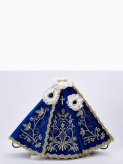 Šaty 18cm / 7.09in (na dřevěnou sošku Pražského Jezulátka 23cm / 9.06in) - modré