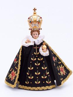 Pražské Jezulátko pryskyřicové oblečené – zmenšená Kopie 24cm / 9.45in s keramickou korunou - černé