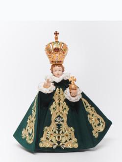 Pražské Jezulátko porcelánové oblečené 34,5cm / 13.58in - zelené