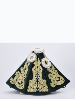 Dress 21cm / 8.27in (Designed for Infant Jesus of Prague Porcelain Statue 34,5cm / 13.58in and Resin Statue 24cm / 9.45in) - Green - Design Maria Theresia