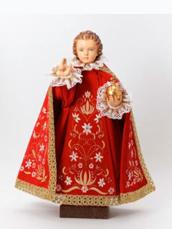 Pražské Jezulátko dřevěné oblečené 52cm/20.47in - červené