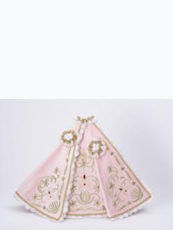 Šaty 40cm / 15.75in (na pryskyřicovou sošku Pražského Jezulátka 48cm / 18.89in) – růžové