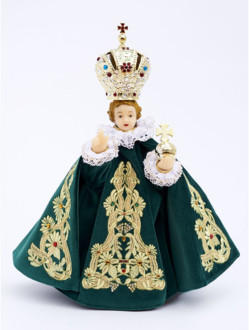 Pražské Jezulátko pryskyřicové oblečené 37,5cm/14.76in - zelené