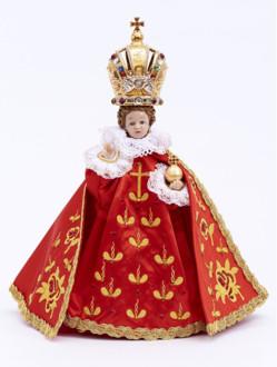 Pražské Jezulátko pryskyřicové oblečené – zmenšená Kopie 24cm / 9.45in s keramickou korunou - červené - vzor Růže