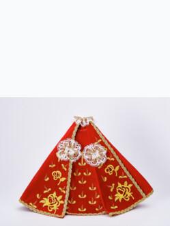 "Šaty (35cm / 13.78"") na Pražské Jezulátko dřevěné (42cm / 16.5"") – červené - vzor Růže"