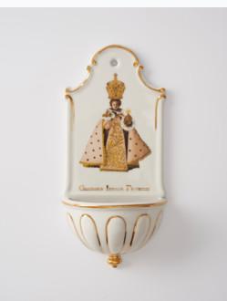 Kropenka porcelánová s Pražským Jezulátkem - velká - bílá