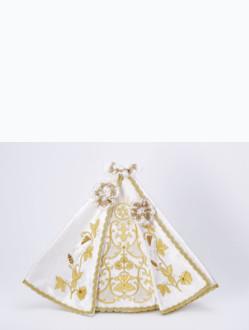 ! V Ý P R O D E J !  Šaty 40cm / 15.75in (na pryskyřicovou sošku Pražského Jezulátka 48cm / 18.89in) – bílé - vzor IHS