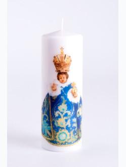 Svíce tištěná - střední - modrozelená
