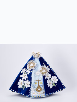 Šaty 35cm / 13.78in (na dřevěnou sošku Pražského Jezulátka 42cm / 11.81in) – modré - vzor Karmel