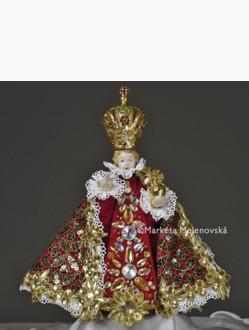 Šaty umělecké 22cm / 8.66in (na porcelánovou sošku Jezulátka 34,5cm / 13.58in) - kolekce červená