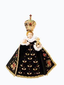 Pražské Jezulátko porcelánové oblečené 34,5cm / 13.58in - černé