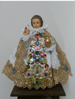 Šaty umělecké 26cm / 10.24in (na dřevěnou sošku Pražského Jezulátka 35cm / 13.78in) - kolekce zlatá