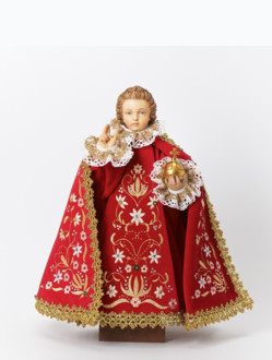 Pražské Jezulátko dřevěné oblečené 35cm/13.78in - červené