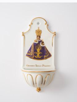 Kropenka porcelánová s Pražským Jezulátkem - velká - fialová