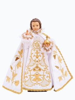 Pražské Jezulátko Dřevěné Oblečené 23cm/9.06in - Bílé - vzor IHS