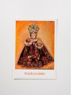 Pohled Pražské Jezulátko malovaný – červený