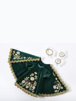 Šaty 18cm / 7.09in (na dřevěnou sošku Pražského Jezulátka 23cm / 9.06in) – zelené