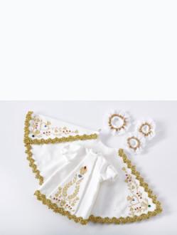 Šaty 18cm / 7.09in (na dřevěnou sošku Pražského Jezulátka 23cm / 9.06in) – bílé