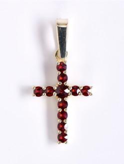 Přívěsek – Křížek Granátový Pozlacený -Malý