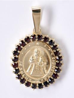 Granátový medailon Jezulátko - stříbrný ( pozlacený )