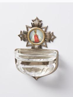 Kropenka kovová s Pražským Jezulátkem - malá č. 3 - stříbrná