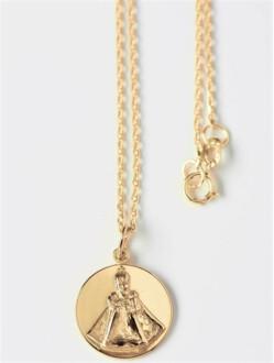 Medailka stříbrná pozlacená - Pražské Jezulátko - kulatá s řetízkem