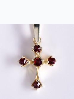 Přívěsek – Křížek Granátový Pozlacený -Mini