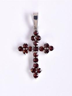 Přívěsek – Křížek Granátový Stříbrný -GOTHIK