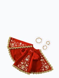 Šaty 18cm / 7.09in (na dřevěnou sošku Pražského Jezulátka 23cm / 9.06in) – červené