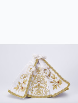 Dress 26cm / 10.24in (designed for Wooden Infant Jesus of Prague Statue 35cm / 13.78in) - White - Design IHS