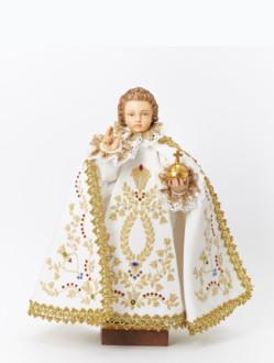 Pražské Jezulátko dřevěné oblečené 35cm/13.78in - bílé