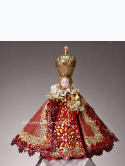 Šaty umělecké 35cm / 13.78in (na porcelánovou sošku Jezulátka 57cm / 22.44in) - kolekce červená