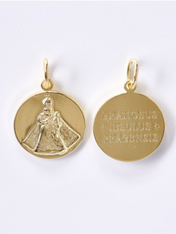 Gold-Plated Silver Round Infant Jesus of Prague Medal