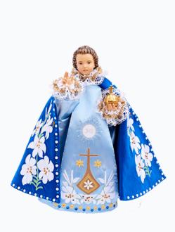 Pražské Jezulátko dřevěné oblečené 35cm/13.78in - modré - vzor Karmel