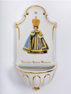 Kropenka porcelánová s Pražským Jezulátkem - velká - modrá